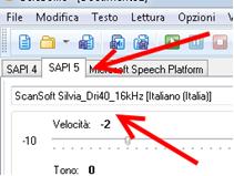 fig. 4 Controlli di Balabolka per la configurazione della voce