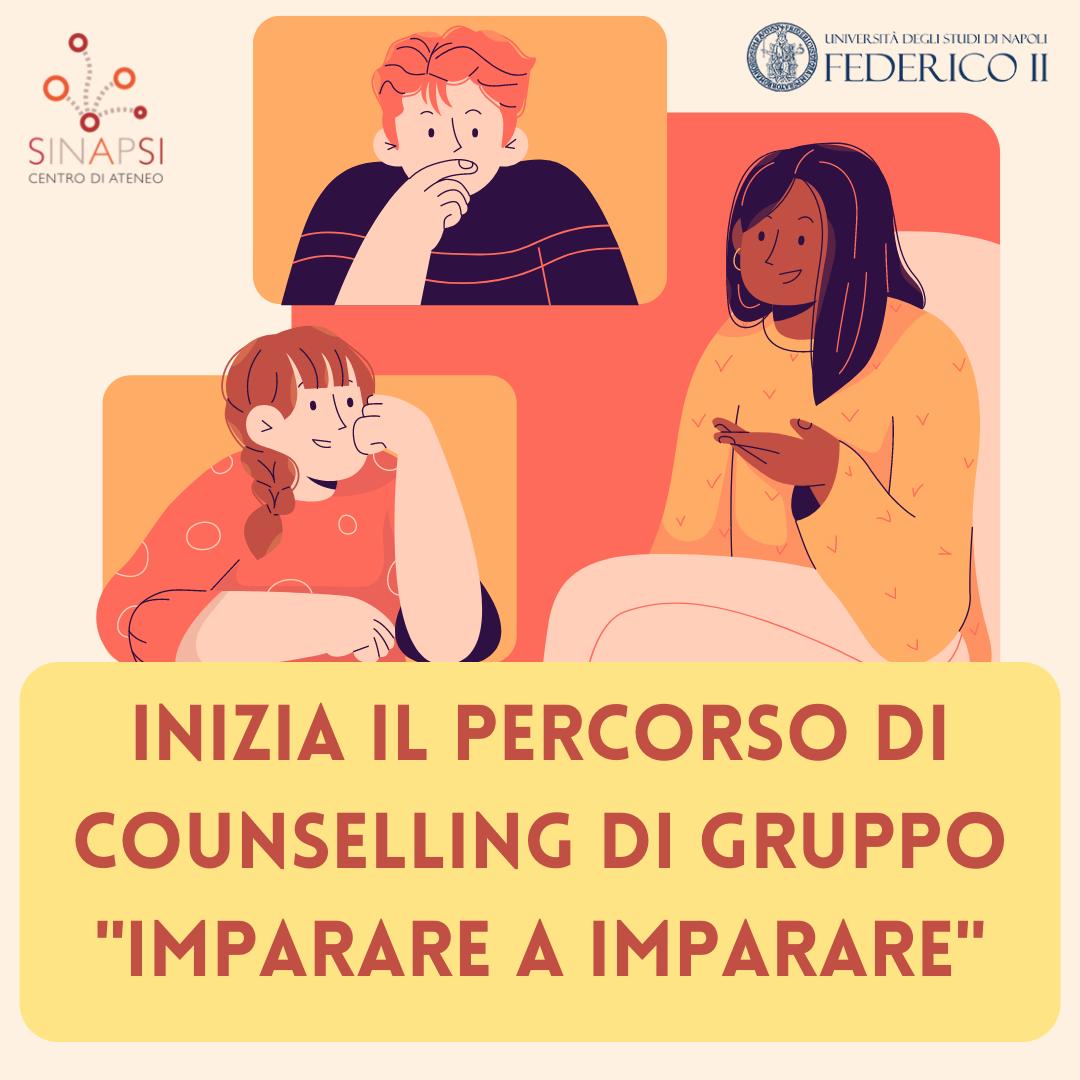 """Locandina con la scritta: Inizia il percorso di counselling di gruppo """"Imparare a imparare"""""""
