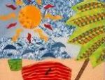 immagine spiaggia con sole e ombrellone