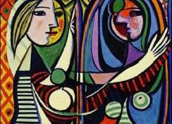 """particolare del dipinto """"Donna allo specchio"""" di Pablo Picasso"""