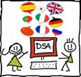 disegno di due alunni con al centro un computer con la scritta DSA e sopra fumetti di diverse lingue