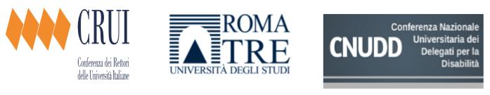 Logo della Conferenza dei Rettori delle Università Italiane - Logo Università degli studi Roma Tre - Logo CNUDD