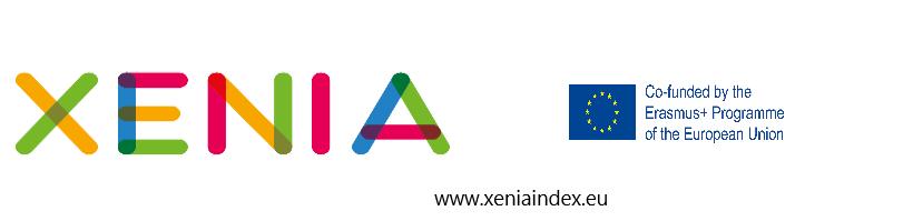 Logo del progetto Xenia con loghi Xenia, Erasmus+ e indirizzo del sito www.xeniaindex.eu