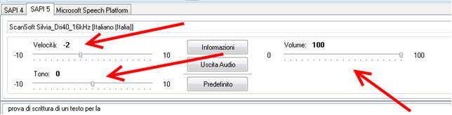 fig. 5 Controlli di Balabolka per la configurazione della voce