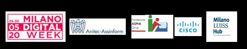 immagine raffigurante i loghi di Milano digital week, anitec assiform, asphi, cisco, milano luiss hub.