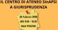 logo dell'evento con la scritta: Il centro di ateneo SinAPSI a Giurispundenza