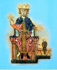 Pittura raffigurante Federico II di Svevia