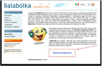 Pagina di download di Balabolka