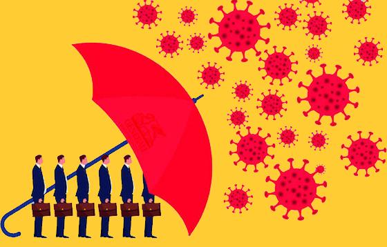 Immagine con omini protetti da un ombrello sotto una pioggia di corona virus