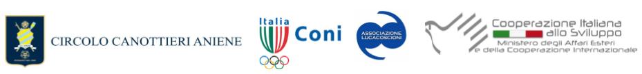 Serie di loghi: Circolo Canottieri Aniene, Coni, Associazione Lucacoscioni, Cooperazione Italiana allo Sviluppo.