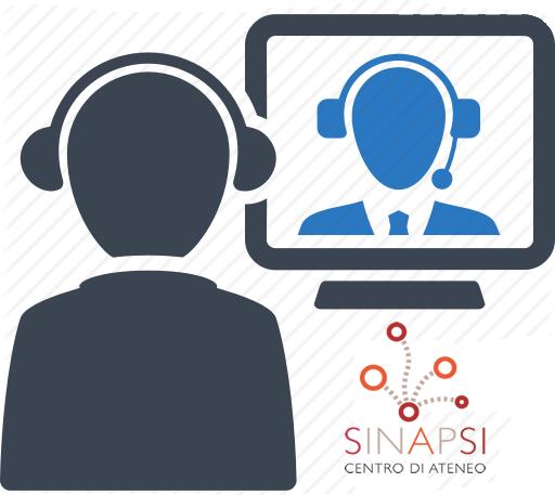 Immagine di due figure in videoconferenza con logo SInAPSi