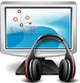 Immagine di un monitor con logo SInAPSi e con cuffie appoggiate