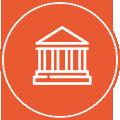 Pulsante con icona disegno stilizzato di una  scuola o di un ente pubblico