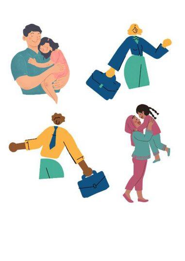 Madri e padri che rappresentate con abiti da lavoro o dedite alla cura della figlia