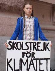 Greta Thunberg durante una protesta per il clima