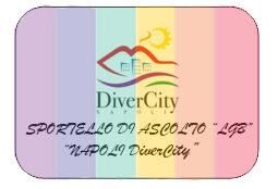 Sfondo arcobaleno con al centro l'immagine stilizzata del Vesuvio e del mare e in basso la scritta sportello di ascolto LGB Napoli DiverCity
