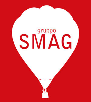logo containing a drawing of a hot air balloon on which there is the large writing SMAG group