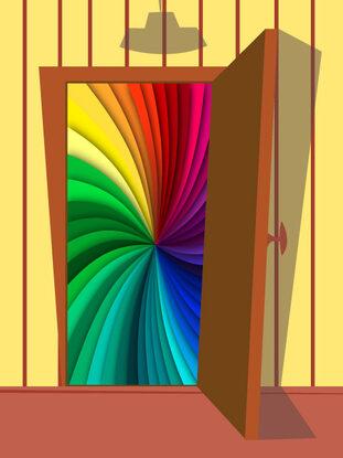 la porta di un armadio aperta che si affaccia su una bandiera arcobaleno, simbolo del coming out LGBT