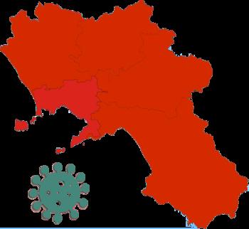 Immagine della Campania colorata di rosso e virus in verde