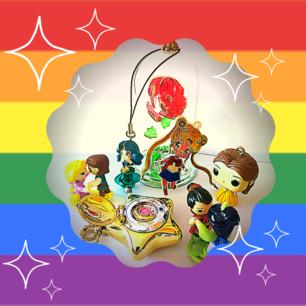 Sfondo rainbow con personaggi dei cartoni animati