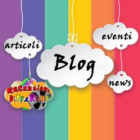 Sfondo arcobaleno con tante nuvolette appese con le scritte articoli, recensioni differenti, blog, eventi, news