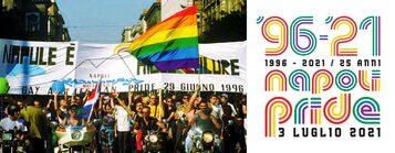 Immagine del primo Pride di Napoli insieme alla locandina del Pride di Napoli del 2021