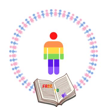 Persona rainbow al centro di un girotondo con un libro