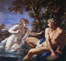 Dipinto che raffigura Salmace ed Ermafrodito