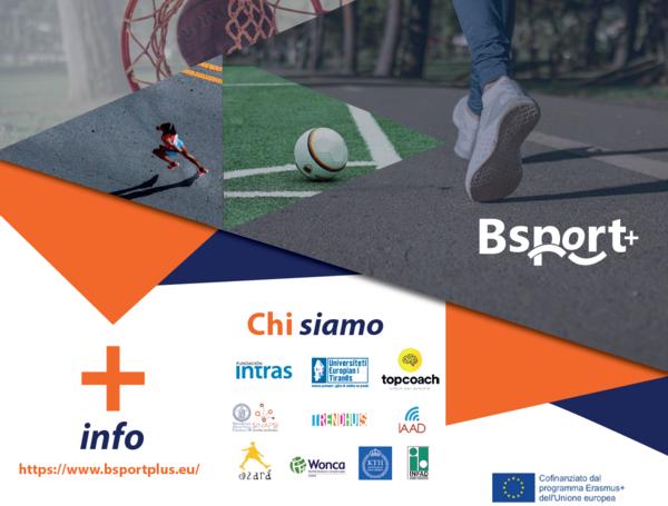 Logo del progetto BSport+ con loghi dei partner e indirizzo del sito www.bsportplus.eu