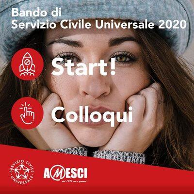 Immagine di una volontaria con la scritta: Bando di Servizio Civile Universale 2020 - Start Colloqui