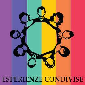 Sfondo arcobaleno con al centro un cerchio composto da persone differenti l'una legata all'altra