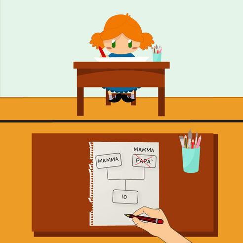 Immagine raffigurante una bimba che a scuola compila un modulo inserendo le sue due mamme