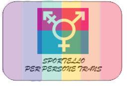 Sfondo arcobaleno con al centro il simbolo transgender e la scritta sportello per persone Trans