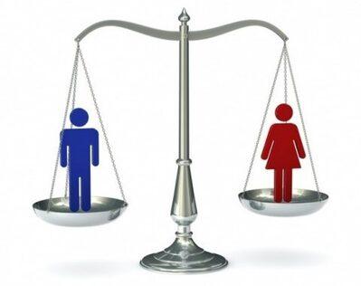 immagine di una bilancia con simboli di genere sui piatti