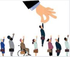 l'immagine raffigura simbolicamente la discriminazione attraverso la preferenza di un individuo che non possiede caratteristiche che vanno fuori dalla norma..