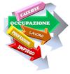 Immagine di frecce colorate che indicano le parole: lavoro, occupazione, impiego, ecc. Collegamento al Questionario AVO Giovani