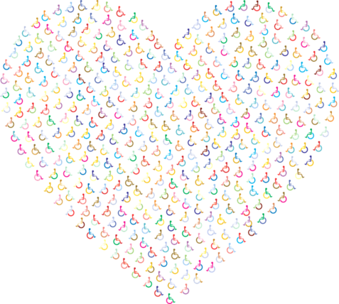 un cuore realizzato con i simboli delle persone con disabilità