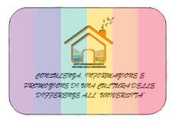 Sfondo arcobaleno con al centro il logo della Sezione e la scritta consulenza, informazione e promozione di una cultura delle differenze all'università