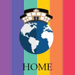 Sfondo arcobaleno con al centro la terra e una casa