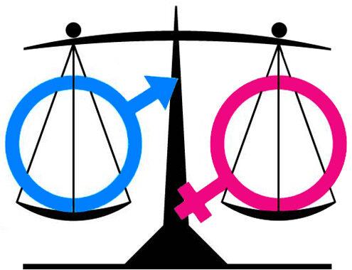 bilancia con i simboli maschile e femminile