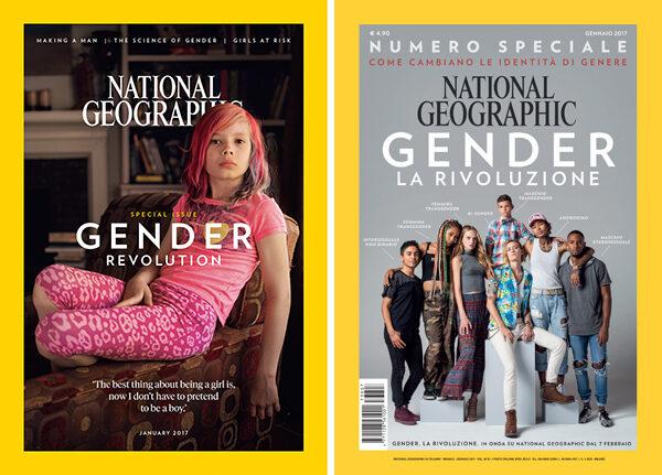 copertina del national geographic che pubblicizza il documentario gender