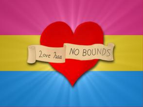 """Bandiera pansessuale a strisce rosa, giallo e azzurro con al centro un cuore e uno striscione con su scritto """"L'amore non ha limiti"""""""
